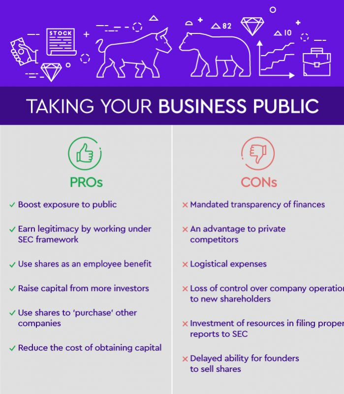 Pros & Cons - Taking a company public