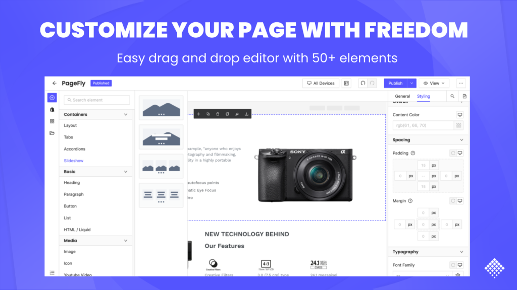 Customize your page with freedom